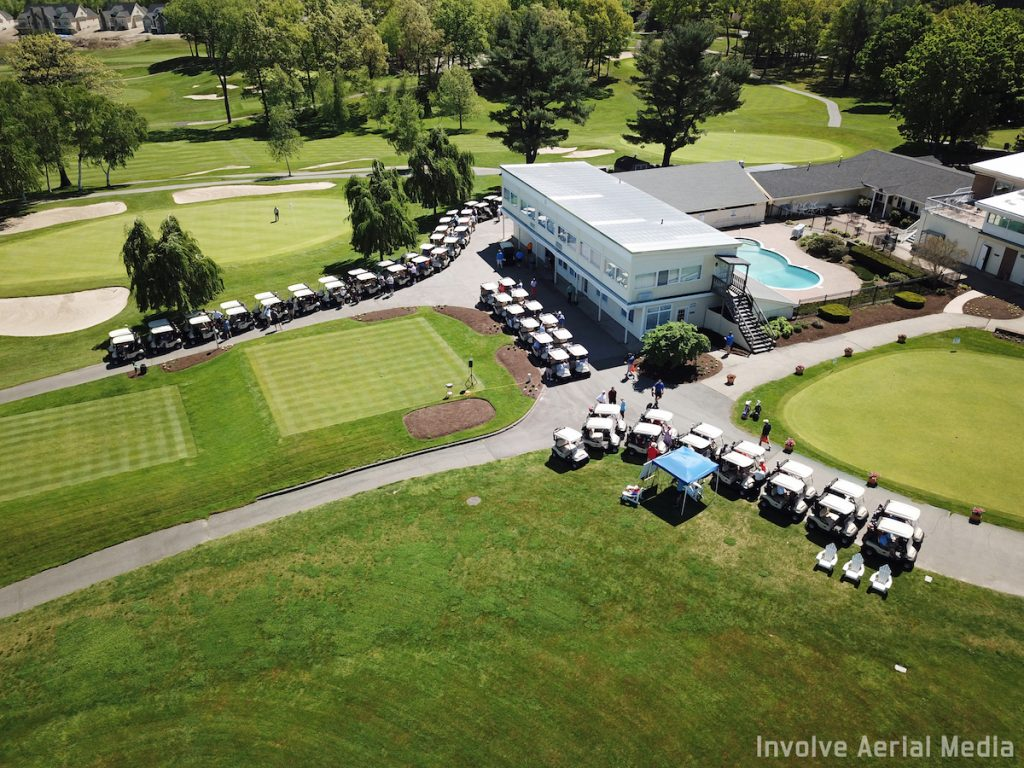 aerial view of golf carts at The Reliant Foundation Golf Classic 2018
